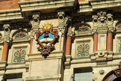 Solsymbol på Palacio de Aguas Corrientes i Buenos Aires Royaltyfria Foton