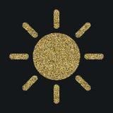 Solsymbolen med blänker effekt som isoleras på svart bakgrund Översiktssymbol, vektorpictogram Symbol från guld- partiklar Royaltyfria Bilder