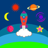 Solsystem jämförelse av planeter, utrymmedrägg som skapas av mannen, illustration Vektor Illustrationer