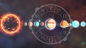 Solsystem och zodiaken royaltyfri illustrationer