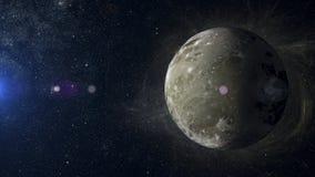 Solsystemplanet Ganymede på tolkning för nebulosabakgrund 3d Arkivfoton