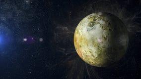 Solsystemplanet Io på tolkning för nebulosabakgrund 3d Royaltyfria Bilder