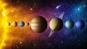 Solsystemplanet, komet, sol och stjärna Beståndsdelar av denna avbildar möblerat av NASA royaltyfri bild
