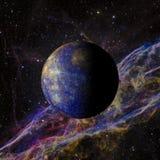 Solsystemplanet Mercury på tolkning för nebulosabakgrund 3d Beståndsdelar av denna avbildar möblerat av NASA Royaltyfri Fotografi