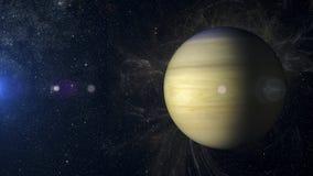 Solsystemplanet Saturn på tolkning för nebulosabakgrund 3d Arkivbilder