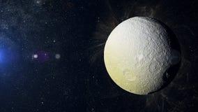 Solsystemplanet Tethus på nebulosabakgrund Arkivfoto
