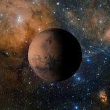 Solsystemplaneten fördärvar på tolkning för nebulosabakgrund 3d Beståndsdelar av denna avbildar möblerat av NASA Arkivbild