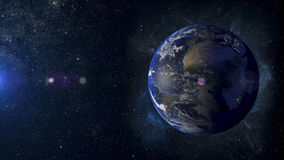 Solsystemplanetjord på tolkning för nebulosabakgrund 3d Arkivfoto