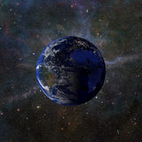 Solsystemplanetjord på tolkning för nebulosabakgrund 3d Beståndsdelar av denna avbildar möblerat av NASA Arkivfoto