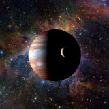 SolsystemplanetJupiter på nebulosabakgrund Beståndsdelar av denna avbildar möblerat av NASA Royaltyfria Bilder