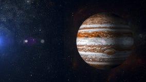 SolsystemplanetJupiter på tolkning för nebulosabakgrund 3d Royaltyfri Foto
