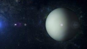 SolsystemplanetUranus på tolkning för nebulosabakgrund 3d Arkivbilder