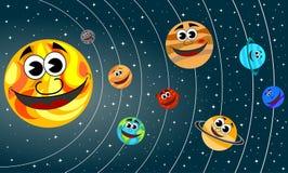 Solsystemtecknad filmplaneter som ler omlopp Arkivfoton