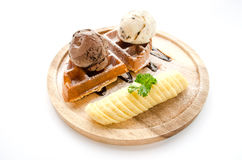 Solt waffle serve with banan and ice cream Stock Images