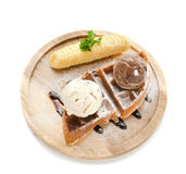 Solt waffle serve with banan and ice cream Royalty Free Stock Photos