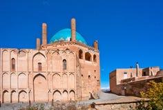 Soltaniyeh陵墓圆顶历史砖墙和尖塔成为了联合国科教文组织世界遗产名录站点 库存图片