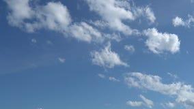 Soltanto cielo blu di estate con le nuvole bianche metamorfiche che si muovono e si dissolvono sulla mosca Metraggio completo del stock footage