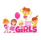 Soltanto concetto dell'insegna delle ragazze con i personaggi dei cartoni animati divertenti Immagine Stock