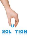 Solução da mão e da palavra Imagem de Stock Royalty Free