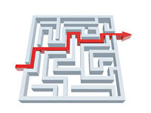 Solução de labirinto Fotografia de Stock