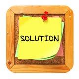 Solução. Etiqueta amarela no boletim. Imagem de Stock