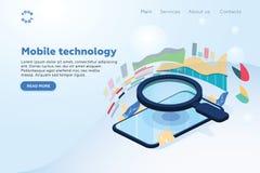 Solução móvel isométrica da tecnologia do conceito de projeto das ilustrações na parte superior com Search Engine Fundo do inclin ilustração do vetor