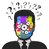 Solução masculina do avatar do perfil ao problema Imagens de Stock
