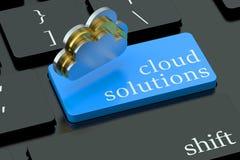 Soluções da nuvem no botão do teclado Imagem de Stock Royalty Free