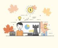 Soluções da TI Tecnologias espertas Cartas e diagramas Usuário feliz Imagens de Stock Royalty Free