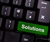 Soluções no teclado imagens de stock