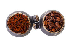 Soluble coffee beans and coffee cup Royalty Free Stock Photography