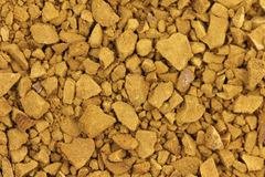 Soluble coffee powder. Brown powder soluble coffee closeup Stock Image