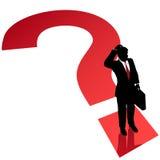Solución de la decisión del hombre de negocios del signo de interrogación Fotografía de archivo