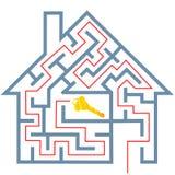 Solución del rompecabezas del hogar de las propiedades inmobiliarias del laberinto para contener clave Imagenes de archivo