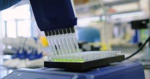 Solución química inyectada en el estante vaccíneo 4k metrajes