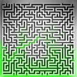 Solución verde de la manera en la opinión superior del laberinto tridimensional Imágenes de archivo libres de regalías