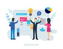 Soluciones del negocio, sistema de funcionamiento del aumento, planeamiento, indicador financiero del análisis libre illustration