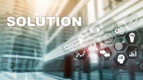 Soluciones del negocio, ?xito y concepto de la estrategia Diagrama virtual de estructuraci?n del proceso de negocio con las soluc libre illustration