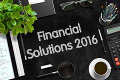 Soluciones financieras 2016 en la pizarra negra representación 3d Fotos de archivo