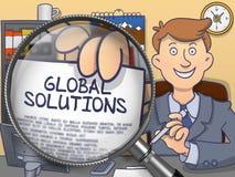 Soluciones globales a través de la lupa Concepto del garabato Foto de archivo libre de regalías