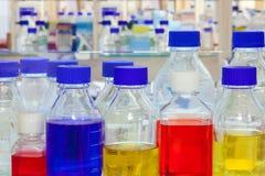 Soluciones químicas en un laboratorio foto de archivo libre de regalías