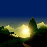 Soluppgång över berg illustration Royaltyfri Bild