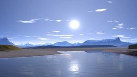 Soluppgång över bergsjön