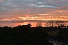 Soluppgång över Charleston Harbor royaltyfri bild