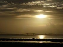 Soluppgång över den Auckland hamnbron Arkivfoton