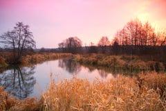 Soluppgång över den sena hösten för flod Royaltyfria Bilder