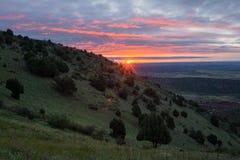Soluppgång över Denver Arkivfoton