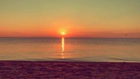 Soluppgång över det lugna havet, solig väg lager videofilmer