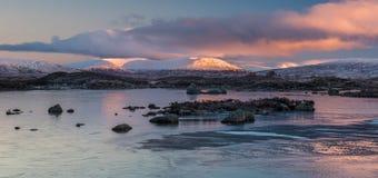 Soluppgång över en djupfryst Rannoch hed royaltyfria foton