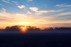 Soluppgång över ett bondefält i Florida, Förenta staterna Royaltyfri Bild